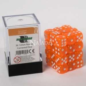 Balení 6-stěnných průhledných kostek - Orange - NM